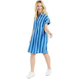 Petite Cotton Printed Camp Shirtdress, Created for Macy's