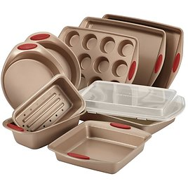 Rachael Ray 10-Piece Cucina Nonstick Bakeware Set, Brown with Red Handles