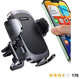 """Vent Phone Holder with Strong Auto Clamp Arm and Support Foot Pad, Anwas Car Phone Mount Easy 1 Hand Use, Cell Phone Car Cradles Fit for All 4.0"""" - 6.8"""" Phones"""