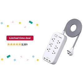 Limited-time Deal: 6 Outlets Power Strip Flat Plug with 3 USB Charing Ports (3.1A, 15W), 6Ft Braided Extension Cord, Wall Mountable Outlet Extender with Overload Protection Switch for Home Office Cruise Ship , White