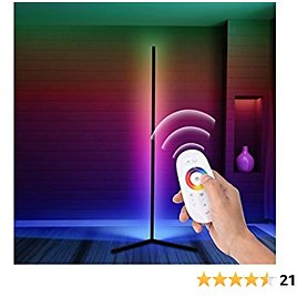 Corner Floor Lamp, RGB Lamp LED Dimmable Remote Control Colour Changing Bedside Tall Standing Lamp,Modern Minimalist Atmosphere Night Light [Black]