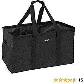 BALEINE Utility Tote Bag for Pool Beach Storage, Extra Large Collapsible Tote with Metal Wire Frame and Reinforced Bottom