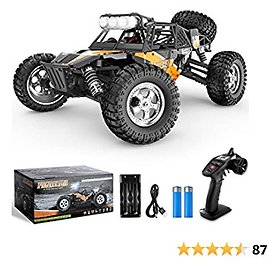 BEZGAR 3 Hobby Grade 1:12 Scale RC Trucks, 4WD High Speed 42 Km/h All Terrains Electric Toy Off Road Sand Rall Buggy RC Truck RC Monster Vehicle Car with Rechargeable Batteries for Boys Kids and Adult