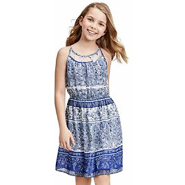Girls Mommy And Me Paisley Border Dress