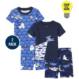 Baby And Toddler Boys Glow Shark Snug Fit Cotton Pajamas 2-Pack