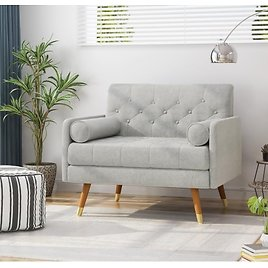Noble House Eugene Mid-Century Modern Tufted Fabric Club Chair