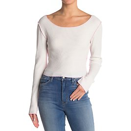 BP.   Cover Stitch Thermal Knit Crop T-Shirt   Nordstrom Rack