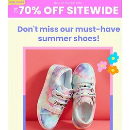 Up to 70% OFF Kid-Approved Summer Shoes