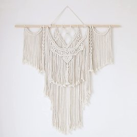 """Save 20% On 39""""x37"""" Large Macrame Wall Hanging (Wood Stick Included)"""