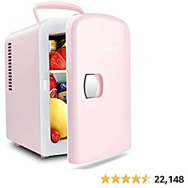 AstroAI Mini Fridge (5 Colors for Choice) 4 Liter/6 Can AC/DC Portable Thermoelectric Cooler and Warmer for Skincare, Foods, Medications, Home and Travel (Pink)