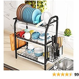 Dish Drying Rack, 1Easylife 3 Tier Dish Rack Stainless Steel with Utensil Knife Holder and Cutting Board Holder Dish Drainer with Removable Drain Board for Kitchen Counter Organizer Storage (Black)