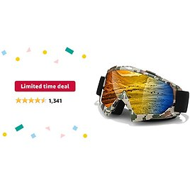 Limited-time Deal: Dirt Bike Goggles,Anti-Fog Motorcycle Goggles,Adjustable UV Protective Ski Goggles with OTG