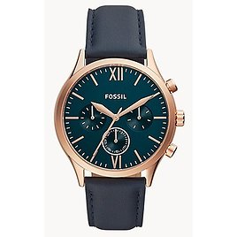 Fossil Fenmore Midsize Multifunction Navy Leather Watch $59.6