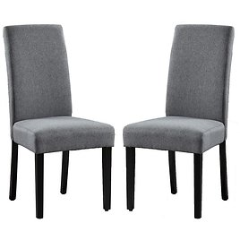 Home Beyond Savona Grey Upholstery Contemporary Dining Accent Chair Set of 2-UC-6G