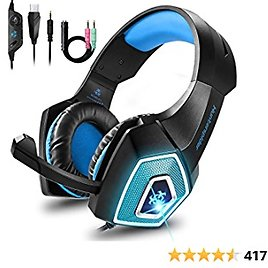 Bovon Gaming Headset for Xbox One, PS4, Lightweight Stereo Over Ear Headphones with LED Light, Mic, Volume Control, Noise Isolation, Adjustable Headband for Smart Phones Laptop PC Mac