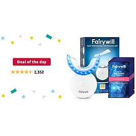 Deal of The Day: Fairywill Teeth Whitening Strips with Light, 28 Pcs Express White Strips with Light, Rechargeable 24X Blue Teeth Whitening Light, Enamel Safe Teeth Whitening Kit with Led Light, Case Include