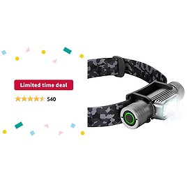 Limited-time Deal: SLONIK Rechargeable Headlamp for Adults 1000 Lumens Super Bright 600 Ft Beam LED Headlamp 2200mAh Battery – Lightweight, Heavy-Duty, IPX8 Waterproof Hard Hat Light – Camping, Running Headlight (Camo)