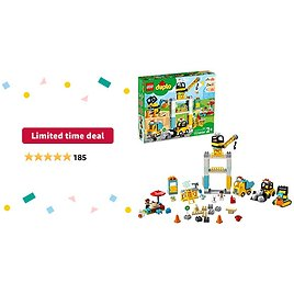 Limited-time Deal: LEGO DUPLO Construction Tower Crane & Construction 10933 Exclusive Creative Building Playset with Toy Vehicles; Build Fine Motor, Social and Emotional Skills; Gift for Toddlers, New 2020 (123 Pieces)