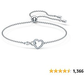 SWAROVSKI Women's Infinity Heart Jewelry Collection, Rose Gold Tone & Rhodium Finish, Clear Crystals