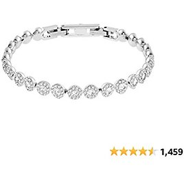 SWAROVSKI Women's Angelic Jewelry Collection, Rhodium Finish, Blue Crystals, Clear Crystals
