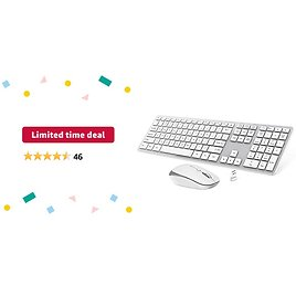 Limited-time Deal: OMOTON Wireless Keyboard and Mouse, 2.4GHz Full-Size Keyboard and Mouse Combo with 3-Level Adjustable DPI Mouse for Computer, PC, Desktop, Laptop with Windows 2000 / XP / 7/8 / 10 / Vista (Silver)
