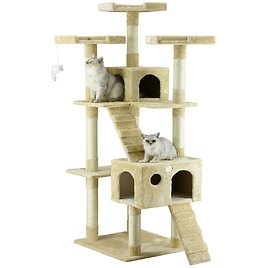 """Go Pet Club Beige 72""""Cat Tree Condo with Two Ladders 