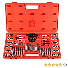 ORION MOTOR TECH 60-Piece Tap and Die Tool Set W SAE & Metric Sizes, Chromium Steel Home Improvement Tool Kit, Hand Tool Set with SAE & Metric Tap and Die Wrenches for Craftsmen & Mechanics, Red Case