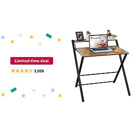 Limited-time Deal: GreenForest Folding Desk No Assembly Required, 2-Tier Small Computer Desk with Shelf Space Saving Foldable Table for Small Spaces, Espresso