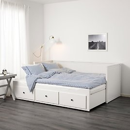 HEMNES Daybed with 3 Drawers/2 Mattresses, White/Minnesund FirmTwin