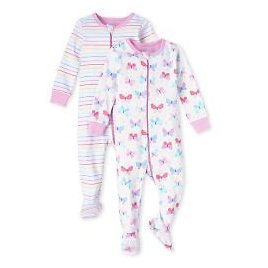 Baby And Toddler Girls Long Sleeve Striped And Butterfly Snug Fit Cotton One Piece Pajamas 2-Pack | The Children's Place