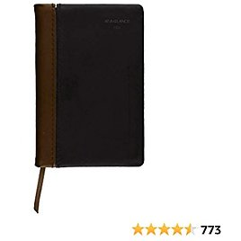 """2021 Diary By AT-A-GLANCE, Fine Weekly & Monthly Diary, 2-3/4"""" X 4-1/4"""", Black/Brown (74010521)"""