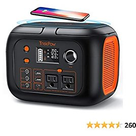 Portable Power Station, TrekPow 296Wh 80000mAh Backup Lithium Battery with 110V/350W AC Outlets, Wireless Charging & LED Light, Clean Solar Generator for Home Camping CPAP Road Trip