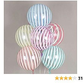 Eanjia Self-sealing Bubble Balloons Stripe Crystal 18inch Wrinkle Free Sphere Balloons for Birthday Wedding Party Decor Anti-Oxidation Reusable Durable Helium Clear Bobo Balloons (Muiltcolor, 18inch)