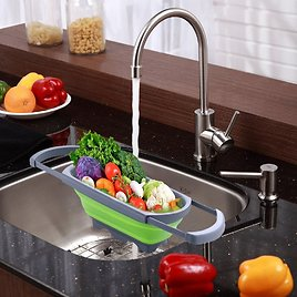 51% OFF! Over-The-Sink Collapsible Colander With Extendable Handles
