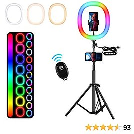 """EXTRA 70% OFF 12"""" RGB Ring Light with Stand and Phone Holder, 26 Colors Selfie Ring Light with 68.9'' Tripod Stand"""