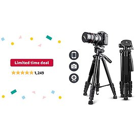 """Limited-time Deal: UBeesize 67"""" Camera Tripod with Travel Bag, Cell Phone Tripod with Wireless Remote and Phone Holder, Compatible with All Cameras, Cell Phones, Projector, Webcam, Spotting Scopes"""