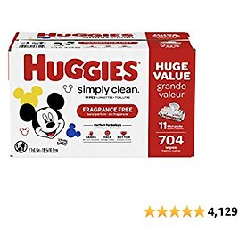 Huggies Simply Clean Unscented Baby Wipes, 11 Flip-Top Packs (704 Wipes Total) - Amazon