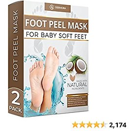 Coconut Foot Peel Mask - 2 Pack - For Cracked Heels, Dead Skin Calluses - Make Your Feet Baby Soft Get Smooth Silky Skin - Removes Rough Heels Dry Skin - Natural Treatment