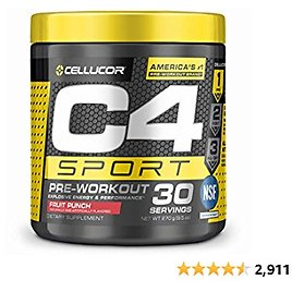 C4 Sport Pre Workout Powder Fruit Punch - NSF Certified for Sport + Sugar Free Preworkout Energy Supplement