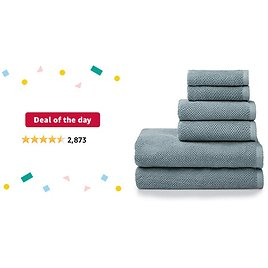 Deal of The Day: Welhome Franklin Premium 100% Cotton 6 Piece Towel Set | Dusty Blue | Popcorn Textured | Highly Absorbent | Durable | Low Lint | Hotel & Spa Bathroom Towels | 600 GSM | 2 Bath 2 Hand 2 Wash Towels