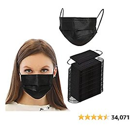 500PCS 3 Ply Black Disposable Masks Filter Protection Breathable Mask