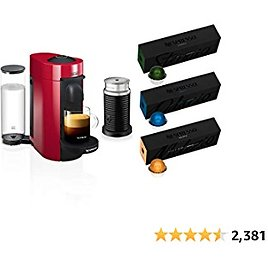 Nespresso VertuoPlus Coffee and Espresso Machine Bundle By De'Longhi with Aeroccino Milk Frother and BEST SELLING COFFEES INCLUDED