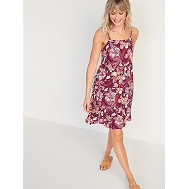 Sleeveless Tiered Floral-Print Swing Dress for Women | Old Navy