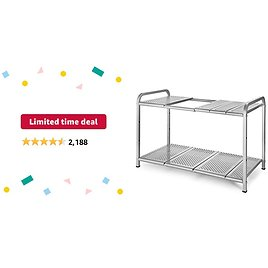 Limited-time Deal: Simple Trending 2-Tier Under Sink Expandable Cabinet Shelf Organizer Rack for Kitchen Bathroom Storage, Silver