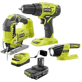RYOBI ONE+ 18-Volt Cordless Combo Kit (3-Tool) with (1) 1.5 Ah Battery and Charger-PCK104KN