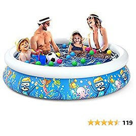 Jasonwell Inflatable Kids Kiddie Pool - Wading Pool for Toddler Durable Swimming Pool Family Above Ground Pool Summer Outside Round Pools for Children Adults Garden Backyard (80.7Wx18.5H)