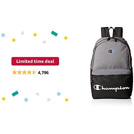 Limited-time Deal: Champion Men's Manuscript Backpack, Heather Grey, One Size