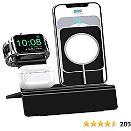 OLEBR 3 in 1 Charging Stand, Compatible with Magsafe Stand IWatch Series 6/SE/5/4/3/2/1 AirPods Pro and IPhone Series 12/11/Xs/X Max/XR/X/8/ 8P/7/7P/6S/6S Plus(Charger & Cables Required) Black
