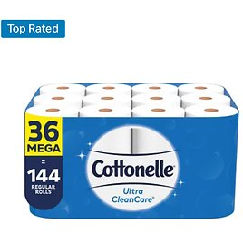 Cottonelle Ultra CleanCare Toilet Paper, Strong Bath Tissue, Septic-Safe (36 Mega Rolls, 340 Sheets/roll) - Sam's Club