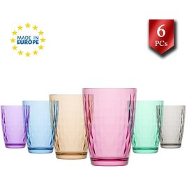 Water Drinking Glasses Set of 6, Glass Cups, Highball Kitchen Glassware Sets, Colorful Glass Tumblers, 14 Oz
